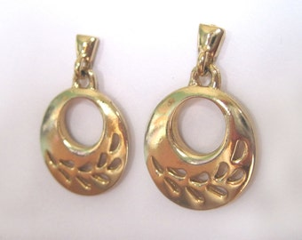 Vintage  Hoop Earrings Gold  Hoop Earrings  Leaf Cut Out Circle Earrings Golden Disc Earrings