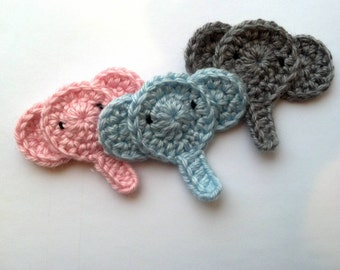 Set of 3 crochet elephant head Applique/ Scrapbooking/ flatback great for Easter Decoration baby shower Nursery Decoration Garden Home