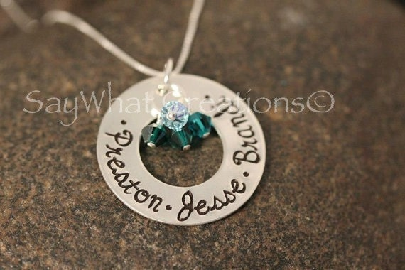 Sterling Silver Round Washer Mothers Grandmothers Necklace with Birthstone