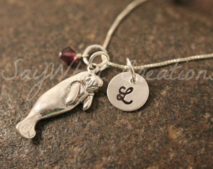 Hand Stamped Sterling Silver Manatee Charm Necklace