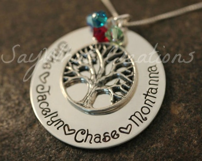 Custom Hand Stamped Sterling Silver Family Tree of Life Necklace with Birthstones Great for Mothers or Grandmothers