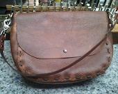 Rustic style Handmade Kodiak leather shoulder bag