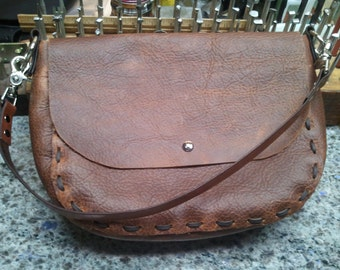 Rustic style Handmade Kodiak leather shoulder bag