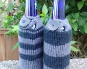 Bottle cozies, set of 2, black and gray stripes with button and loop closure, vegan