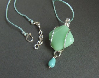 Mint green necklace, fresh green fused glass pendant, wire wrapped silver plated jewelry