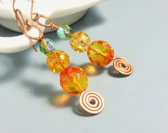 Bohemian copper earrings, green orange yellow glass beaded jewelry, multicolor boho earrings