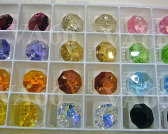 Rare Discontinued by Swarovski 8p Octagon 14mm 8116 Prism 6404 2-Hole Swarovski Crystals Austria Col Choice Loose Beads Jewelry making