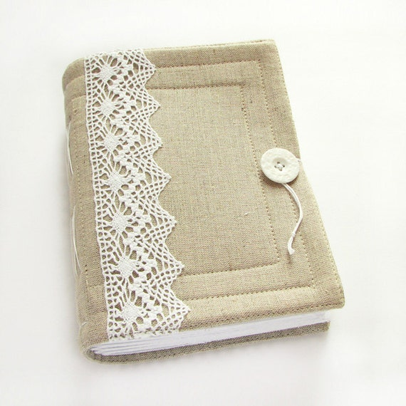 Large Fabric Book Cover ~ Large lace journal wedding guest book diary by artstitch