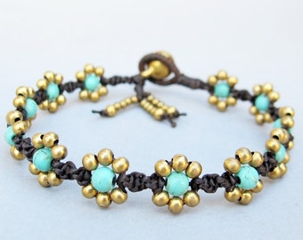 Daisy Flower Line with Turquoise Bracelet  B262