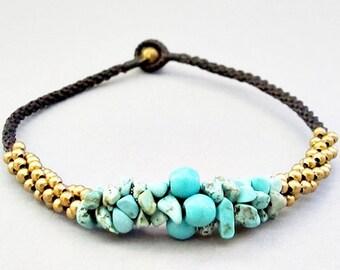 Mala Turquoise Brass Bead Macrame Anklet
