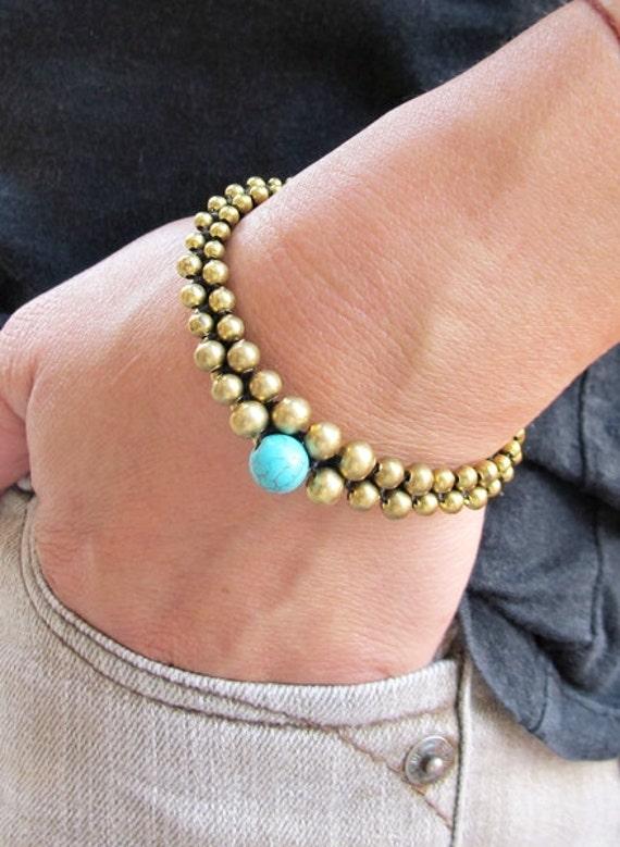 Aloe Vera Bracelet and 8 mm Round Turquoise