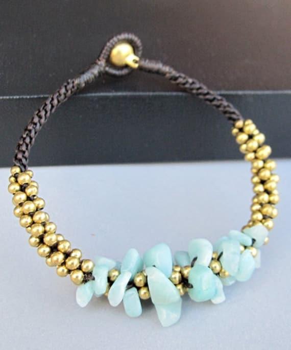 Mala Amazonite Brass Bead Macrame Bracelet
