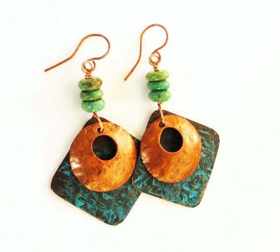 Turquoise Earrings Copper Verdigris Earrings Rustic Jewelry
