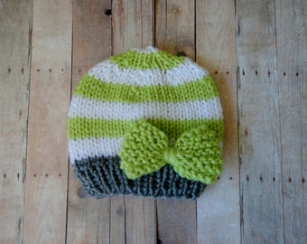 Hat, Baby, Newborn, Knit, Baby Beanie, Newborn Beanie, in Light Green, White and Grey with a Knitted Green Bow Shabby Chic Baby Photo Prop
