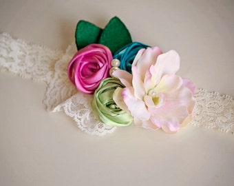 Adorable Rosette Spring Girl Flower Headband - M2M Matilda Jane Spring - Great Photo Prop