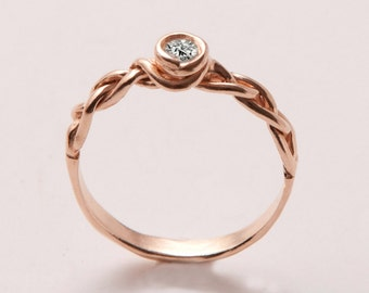 Braided Engagement Ring No.3 - Rose Gold engagement ring, unique engagement ring, wedding band, celtic engagegment ring