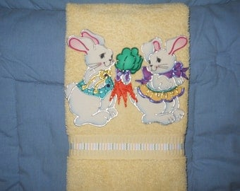Easter Hand Towel or Decoration Bathroom or Kitchen Courting Bunnies