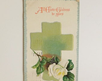Antique Easter postcard Cross and white rose flower floral religious post card holiday card