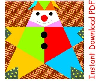 Clown paper pieced quilt block PDF pattern INSTANT DOWNLOAD circus