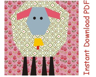 Spring lamb with bell quilt paper piecing Pattern block INSTANT DOWNLOAD PDF Bonus pattern