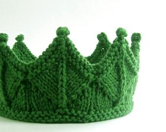 Leaf Green Lace Knit Crown, Waldorf inspired Woodland Headband