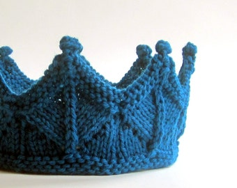 Birthday Crown in Peacock Blue Knit Lace