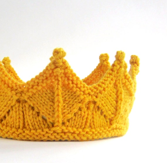 Golden Yellow Lace Knit Crown Headband for Dress Up and Pretend Play