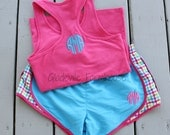 Monogrammed Racer Back Tank with Running Shorts