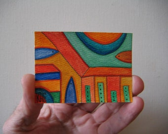 Downtown, Original ACEO Watercolor by Fig Jam Studio