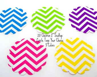 20 Chevron Scallop Circle Tags Favor Tags Scrapbooking Cupcake Topper 5 Colors