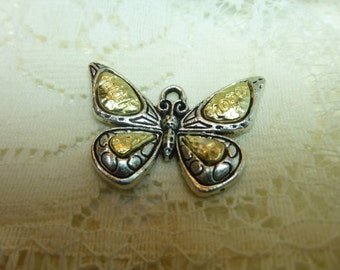 1 Tibetan Silver and Gold Large Butterfly Charm Pendant Dangle