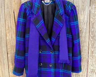 SALE vintage women's coat blue purple plaid jacket size 12 with scarf and shoulder pads New York Girl brand