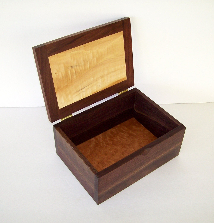 Wood Jewelry Box Mens Valet Keepsake Box Black Walnut And Box