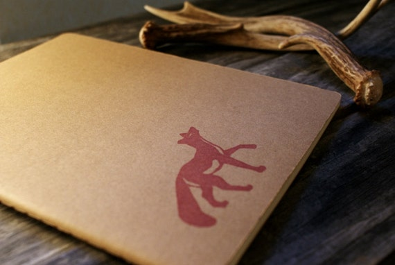 Rambling Red Fox on  Moleskine Large Journal Notebook using  Hand Carved Stamp