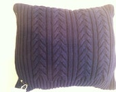 """Eco- Friendly Soft Cable Knit Navy Blue Sweater Throw Pillow Cover 12"""" X 12"""""""