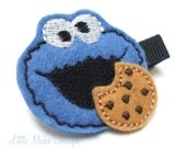 Blue Monster And Chocolate Chip Cookie Felt Clippie - littlemaikoboutique