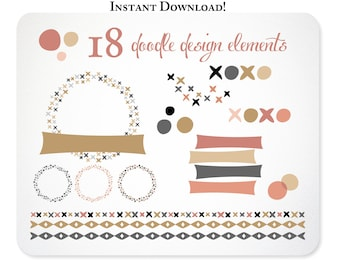 Blush Gold & Black Clipart Dashes and Dots Design Elements - Borders - Set 1  Instant Download