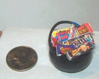 Dollhouse Miniature Halloween WITCH CAULDRON Chocolate Candy Treat Bucket Party Food