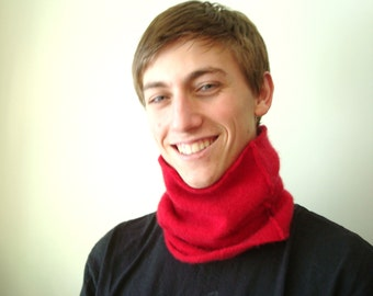 Red Cashmere Cowl Buff Unisex Gaiter Neck Warmer Neckwarmer Upcycled Cashmere Sweater by WormeWoole