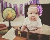 Handmade Purple/White Chevron Polka Dot Girl Rag Cloth Garland Banner Newborn Photography Prop Home Decor Birthday Party