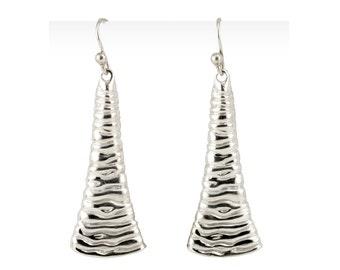 Shiny Dangle Earrings - Liquid Silver Earrings - Liquid Metal Jewelry -  Sterling Silver