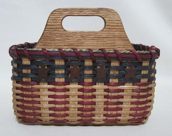 Silverware Basket / Paper Plate Basket / Divided Basket / Napkin Basket /  Organizer Basket / Utensil Basket -Americana-Patriotic