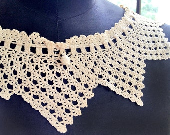 Vintage lace collar, handmade ivory crocheted collar with adjustable drawstring, fiber art, textiles to wear, display, or collage