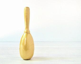 Vintage sock darner, pearl yellow gold painted wood, sewing supplies, tools, honey mustard, darning egg, iridescent