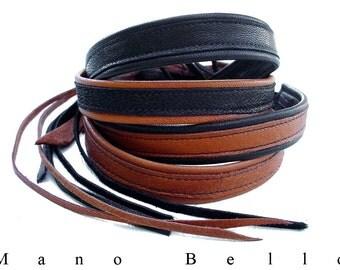 Mens Leather Choker Necklace Honey Tan Black Leather custom made Minimalist Leather Choker for Men