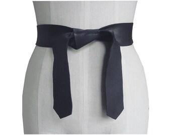 Soft Leather Tie Belt Raw Edge Goatskin or Seamless Cowhide Black Strap Belt Sash xs, s, m, l, xl Coat Belt Basic Collection custom