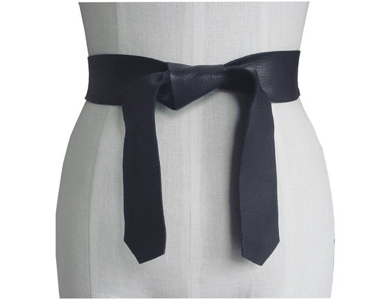 soft leather tie belt black seamless knotted sash
