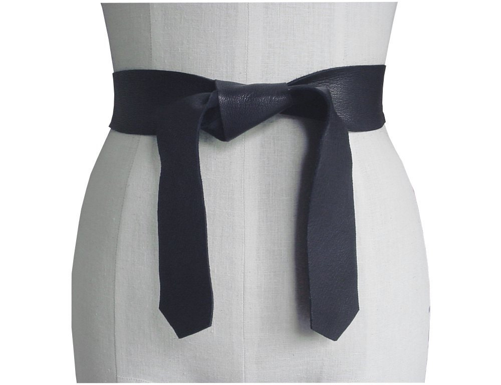 soft leather tie belt edge goatskin or seamless cowhide