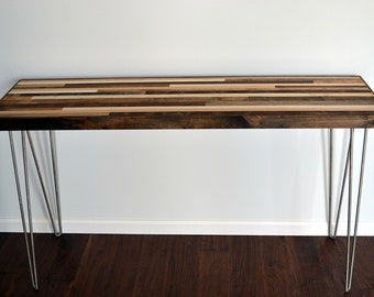 Console Table with Hairpin legs - Wood Table - Reclaimed Wood table 12x48