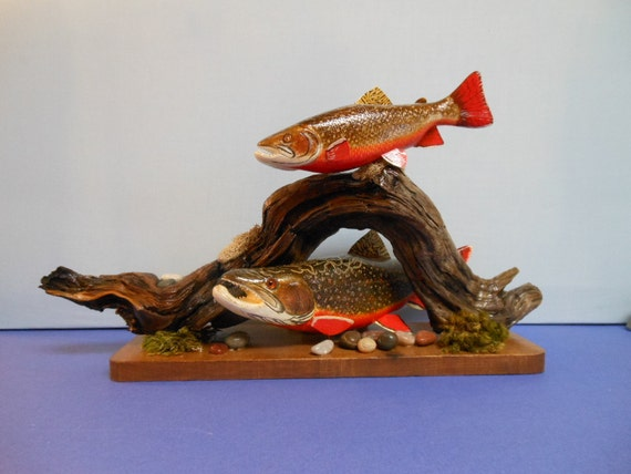 Items similar to brook trout hand carved wood sculpture on